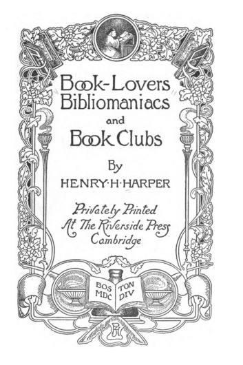 Title page of an obscure but authoritative book on Bibliomaniacs.