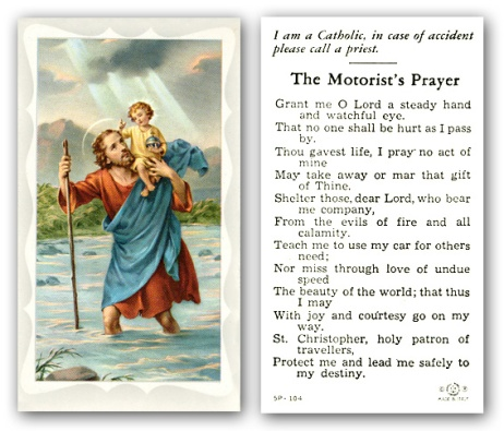 Bogus St. Christopher, Patron Saint of Motorists, July 25