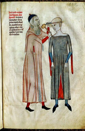 An illustration from Guy of Pavia's 14th century medical treatise on brain surgery