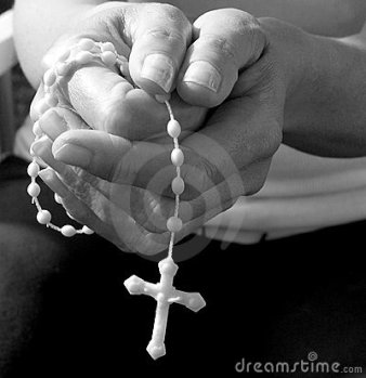 Rosary white plastic with hands
