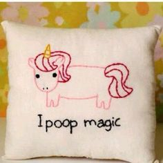 unicorn pillow i poop magic